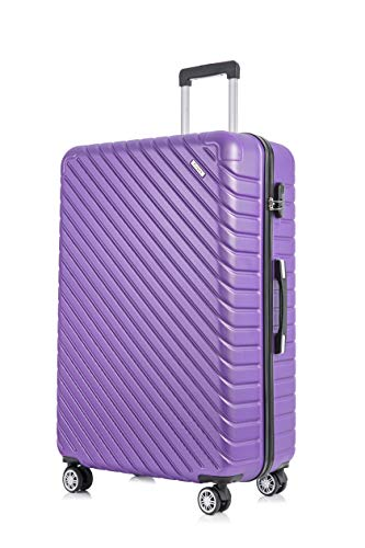 Flymax 29' Large Suitcases on 4 Wheels Lightweight Hard Shell Luggage Durable Check in Hold Luggage Built-in 3 Digit Combination Purple