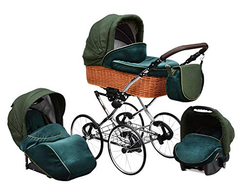 SKYLINE Klassisch Retro Stil Wicker LUX Kombi-Kinderwagen Buggy 3in1 Reise System Autositz (Isofix) (Sea Green/17