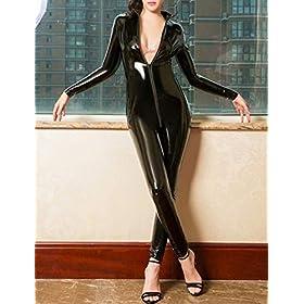 Women Sexy Faux Leather Bodysuit Wet Look Zipper Crothless Catsuit Shiny Teddy Clubwear Jumpsuit Costume