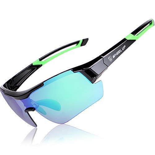 Gafas de sol polarizadas para ciclismo de HQCM, para exteriores, con aspecto frío, adecuadas para gafas de ciclismo de montaña resistentes al viento, para hombres y mujeres, Unisex adulto, verde