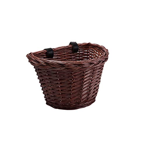 Portable Bicycle Handlebar Storage Basket Wicker D-Shaped Bike Basket, Hand-Woven Shopping Basket Folk Craftsmanship