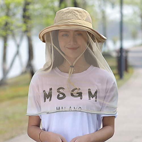 Mosquito Head Net Hat, Safari Hat Breathable Sun Hat, Beekeeper Hat with Veil Net Mesh Protection from Bee Mosquito Gnats for Women Outdoor Fishing Gardening Hiking Travel Khaki