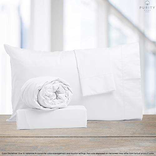 Purity Home Soft & Lightweight 100% Combed Compact Cotton Sheet Set, 4 Piece Set, Bestselling Queen Sheets Percale Weave, Cool & Breathable, Fitted Sheet Fits Up to 18' Deep Pocket, Arctic White