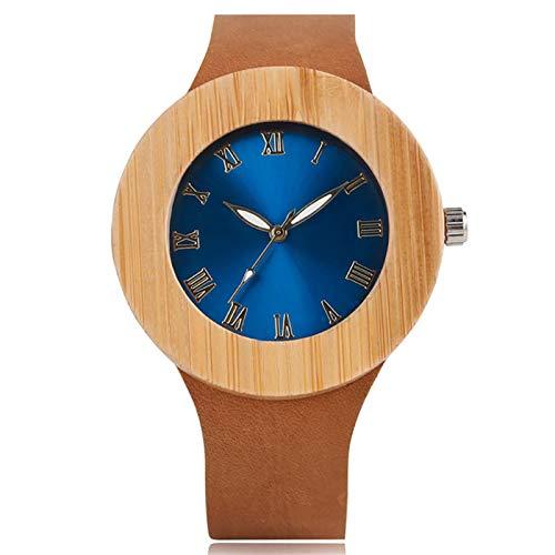 Elegante Azul/Verde Esfera Redonda de Madera de bambú Relojes de Mujer Reloj de Madera de Cuero marrón de Cuarzo para Mujer Azul