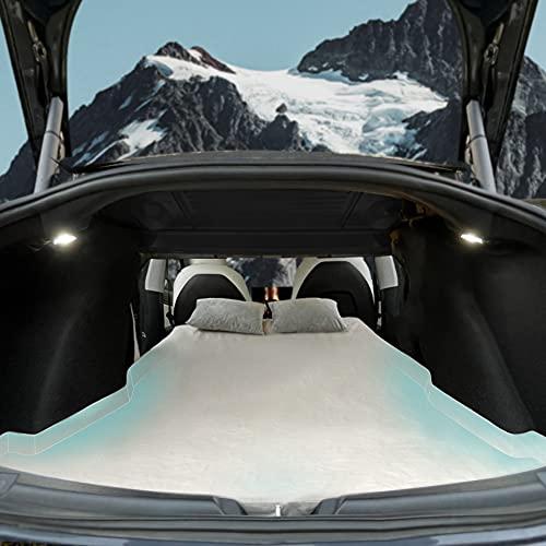 TESCAMP - Materasso da campeggio CertiPUR in memory foam per auto, con custodia e foglio in dotazione, per Tesla Model 3, portatile, pieghevole, salvaspazio, in auto dormire, doppia dimensione