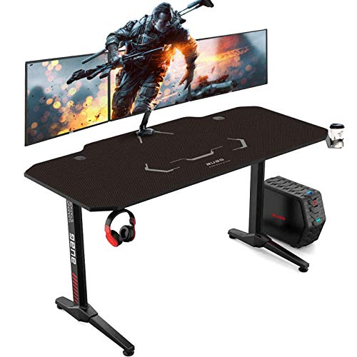 AuAg 55 inch Racing Style Gaming Desk Computer Desk Workstation T-Shaped Office PC Computer Sturdy Table with Free Mouse Pad, Cup Holder & Headphone Hook