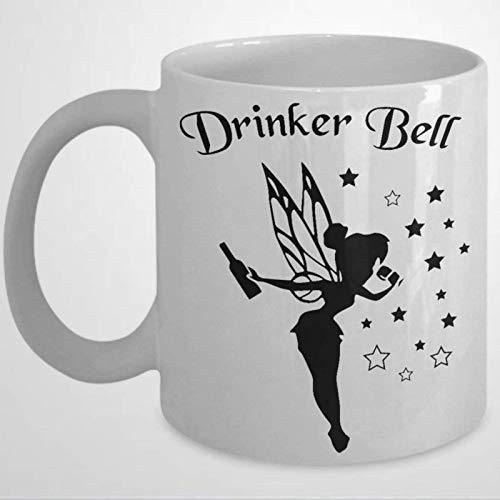 Drinker Bell Glitter Wine Glass Coffee Mug present for Girlfriend Tinker Bell cartoon BFF Personalized Mom Wine Funny Wine Glass 11 oz Ceramic coffee or Tea cup Festival