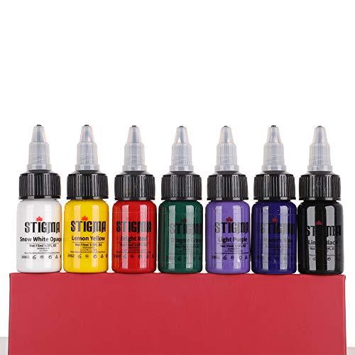 STIGMA Kit de Tintas para Tatuaje 15 ml 1/2 oz 7 Botellas Conjunto de Pigmentos para Tatuaje Tattoo Ink Set Primarios de 7 Colores Suministros para Tatuajes
