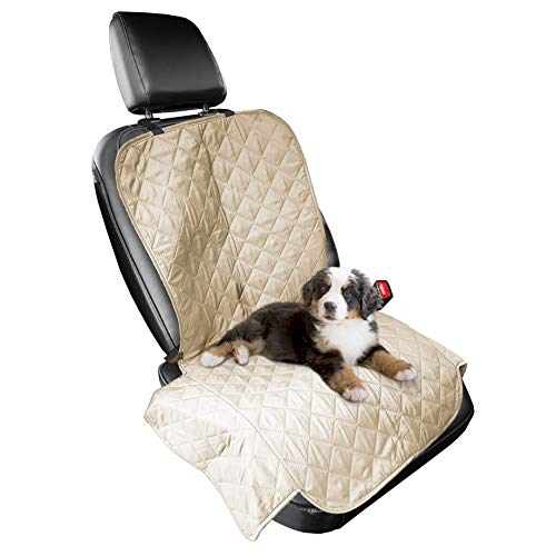Furhaven Pet Furniture Cover - Universal Water-Resistant Quilted Car Bucket Seat Cover Protector for Dogs and Cats, Clay, Single-Seat