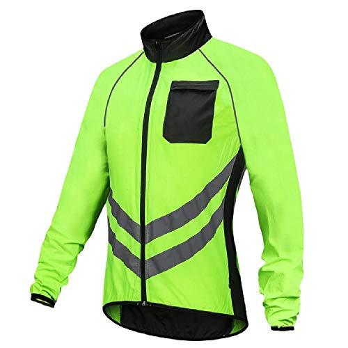 Wasserdichte Regenjacke für Herren und Damen, reflektierend, sichere Weste, Laufen, Reiten, Windmantel, Fahrrad-Regenjacke Gr. XXL, 1