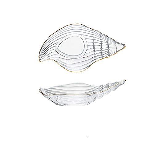 Juego de cuencos y platos de cristal pequeños con borde dorado para postre del océano nórdico, bandeja de almacenamiento para joyas, plato decorativo