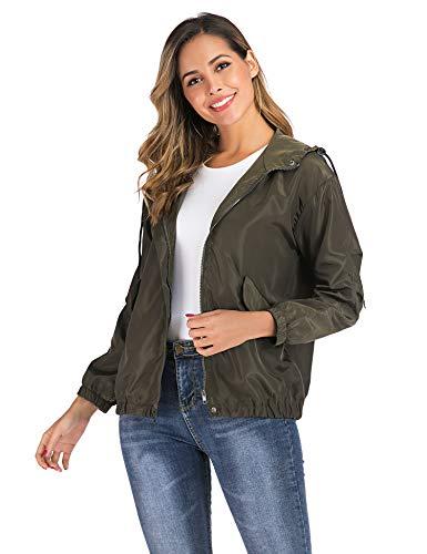 Enjoyoself Abrigos Impermeables para Mujer Rompevientos con Capucha Cortaviento Outdoor Impermeables Verde del Ejército M