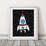 Rocket Space Leinwand Malerei Poster Kinderzimmer Print