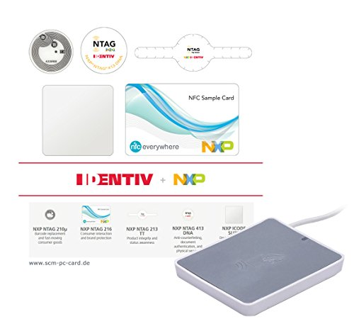 Identiv NFC Tag Starter Kit Plus Kartenleser kontaktlos - 25 Stück Typ NFC Forum Typ 2/4/5 NTAG - und iCode-Tag-ICS inkl. uTrust 3700 F NXP