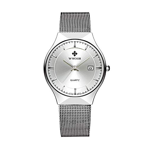 HopeU5 WWOOR orologio da polso al quarzo analogico in acciaio inossidabile ultra sottile da uomo con cinturino regolabile in mesh decorato con la finestra della data impermeabile (Bianco)