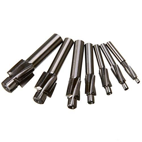 JVSISM 7Pcs M3-M12 Counterbore Milling Cutter High Speed Steel Pilot Slotting Tool End Mill Slot Drill Bit Set