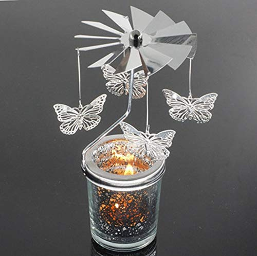 Libertroy Forma de Mariposa Rotación romántica Candelabro Puerta Giratoria Molino de Viento Cielo Estrellado Candelabros Bricolaje - Plata