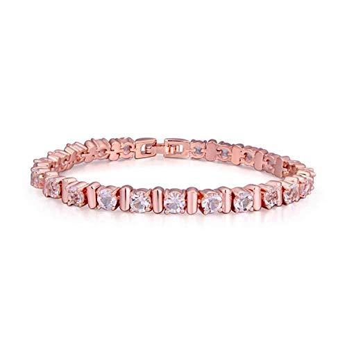 BMGFEW Pulsera Pulsera de Moda joyería AAA señoras Mano Micro Incrustaciones circón Encanto crepuscular Solo Flash Diamante Sola Capa Oro Rosa