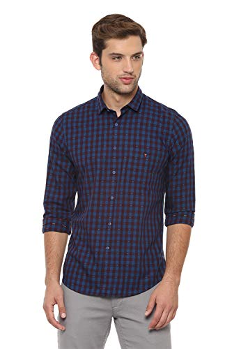 Louis Philippe Men's Checkered Slim fit Casual Shirt (LYSFCSSPI81909_Blue 44)