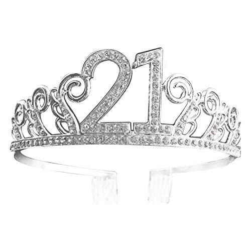 Runaup - Tiara para 18 cumpleaños, decoración para tartas y suministros para hornear, corona de cumpleaños con brillantes