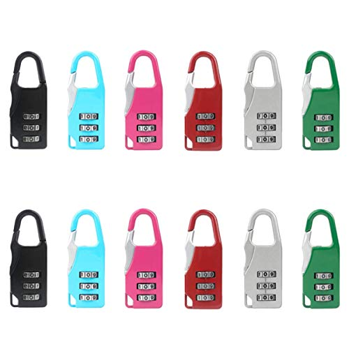 12 Pcs Luggage Lock Zinc Alloy Travel Lock 3-Digit Lock Combination Number Padlock Number Lock for Travel Suitcases Box Cabinet Backpack