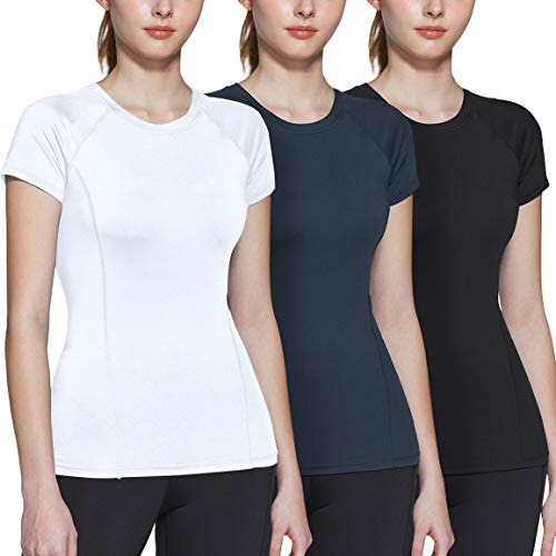 ATHLIO Women's Short Sleeve Workout Shirts, Moisture Wicking Sports Tops, Active Sports Running Exercise Gym Tee Shirt, 3pack(bfs22) - Black/Charcoal/White, Small