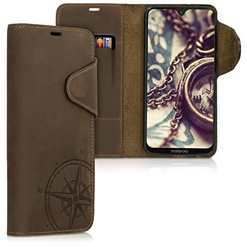kalibri Wallet Hülle kompatibel mit Motorola Moto G7 / Moto G7 Plus - Hülle Leder - Handy Cover Handyhülle Kompass Vintage Braun