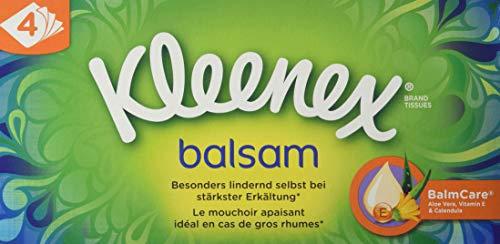 Kleenex Balsam chusteczki higieniczne, 4-warstwowe, idealne w przypadku przeziębień i alergii, 24 opakowania 60 chusteczek, opakowanie zapasowe