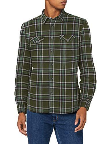 Wrangler Herren LS 2PKT Flap Shirt Hemd, RIFLE GREEN, XL