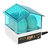 Lifcasual Incubatrice,Incubatrice automatica di 4 uova, mini incubatrice automatica per gallina, anatra, quaglia,incubatrice per Uova con Display LCD,15W, Blu