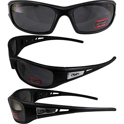 Global Vision Detour Safety Sunglasses Matte Black Frames Smoke Lenses ANSI Z87.1
