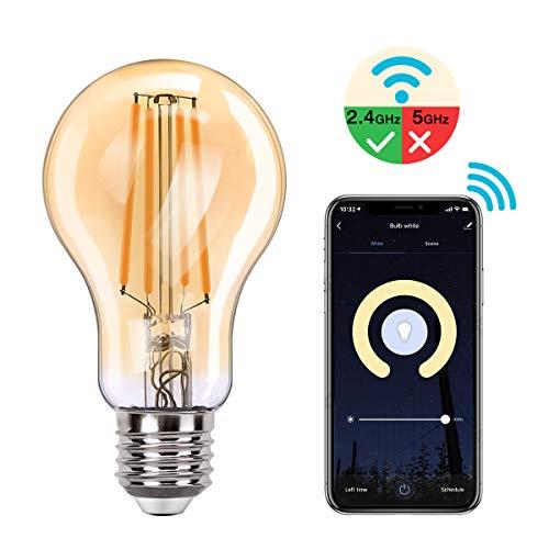 MoKo Smart WLAN Edison Vintage Glühbirne, E27 7.5W WiFi Birne Dimmbar LED Lampe Glühlampe Retro Glühbirnen Kompatibel mit Alexa Echo Google Home SmartThings, Fernsteuerung Timer/Warmweiß Licht