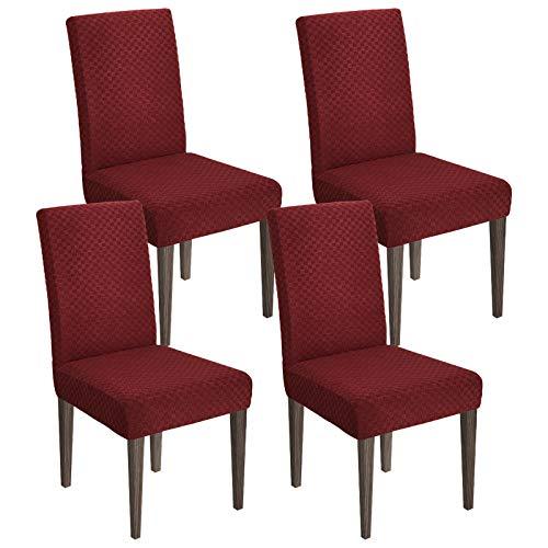 MAXIJIN Neueste Jacquard Esszimmer Stuhlbezug Stretch Dining Parsons Stuhl Schonbezug Abnehmbare Stuhl Möbel Schutzhüllen für Esszimmer, Hotel, Küche, Zeremonie (Weinrot, 4)