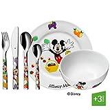 WMF Disney Mickey Mouse - Vajilla para niños 6 piezas, incluye plato, cuenco y cubertería (tenedor, cuchillo de mesa, cuchara y cuchara pequeña) (WMF Kids infantil)