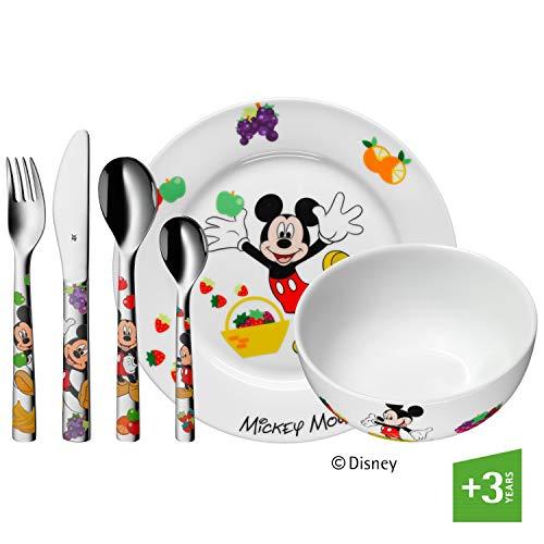 WMF Disney Mickey Mouse Kindergeschirr mit Kinderbesteck, 6-teilig, ab 3 Jahren, Cromargan Edelstahl poliert, spülmaschinengeeignet, farb- und lebensmittelecht
