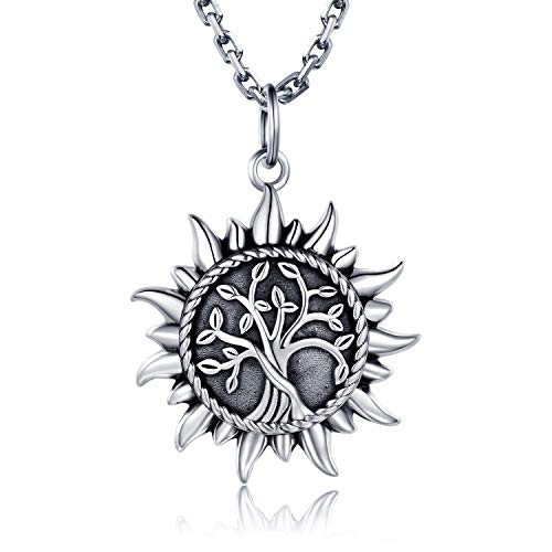 925 Sterling Silver Urn Necklace Ring For Ashes Sunshine Cremation Keepsake Pendant Family Tree of Life Ashes Necklace Jewelry Locket Memorial Always in My Heart Memory Necklace Gift (Necklace)