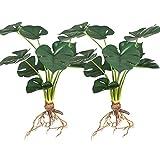 Aisamco 2 Piezas de Plantas de Palma Artificiales Hojas de imitación Tropical Hojas de Palma Grandes Plantas Artificiales con 9 Hojas de 38 cm de Altura para decoración de Bodas en el hogar