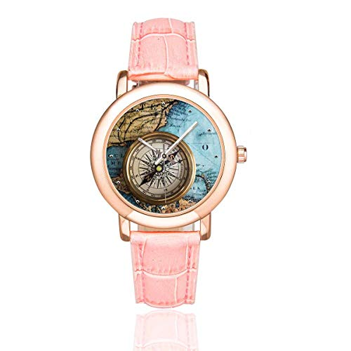 InterestPrint Nautical Compass On Vintage World Map Women's Waterproof Wrist Watch with Pink Leather Band