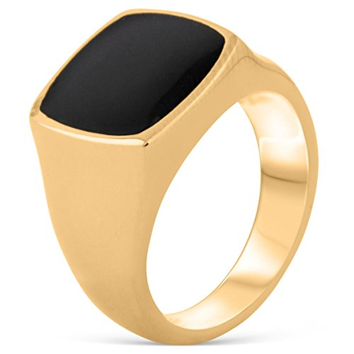 Akitsune Opus Ring   Design-Ring Frauen Herren Edelstahl Groß Minimalistisch Siegel - Gold - US 12