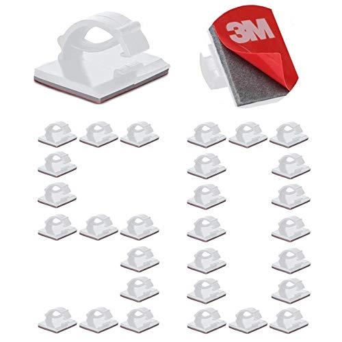 50Pcs clips de cables adhesivos duraderos de 3 M, Organizador Clip de...