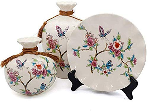 LIN-rlp Ceramic Vases Set of 3 Piece,Chinese Classical Vases for Home Decor,for Living Room and Office,Best Gift and Artware,Flower and Butterfly Pattern