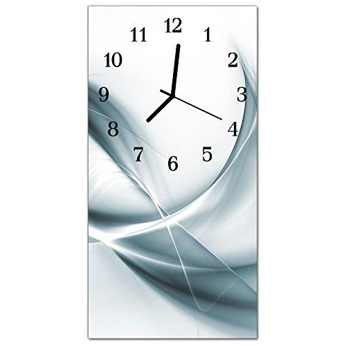 DekoGlas Glasuhr \'Abstrakt Silber\' Uhr aus Echtglas, eckig große Motiv Wanduhr 30x60 cm, lautlos für Wohnzimmer & Küche