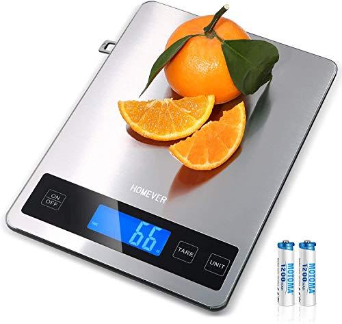 Homever Báscula de Cocina Digitals Acero Inoxidable, Báscula de Alimentos 15 kg / 33 lbs con Pantalla LCD, 6,3 x 0,79 pulgadas Gran Panel, Precisión de 1g para Chefs y Principiantes en Cocina