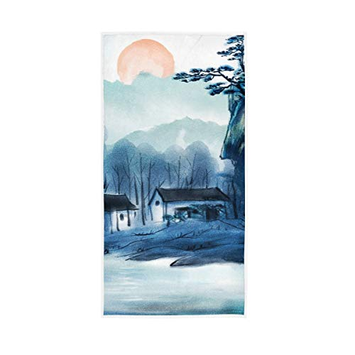 S Husky Ink Painting China Style Hand Bath Towel Village Mountain Quick-Dry Highly Absorbent Soft Face Towel for Bathroom Kitchen Gym Yoga 30 x 15 inches 2040546
