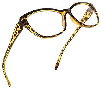 Fiore Bifocal Reading Glasses for Women Cateye Bi Focal Readers Cat Eye Eyeglasses Clear Lens Animal Print [Tortoise 2.25]