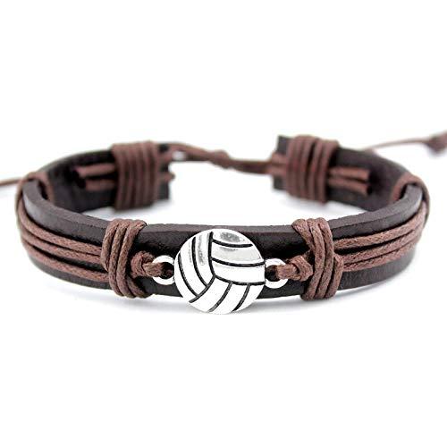 IJEWALRY Damenarmband Armbänder Armband,Mode Persönliche Volleyball Fußball Fußball Softball Lacrosse Hockey Basketball Calisthenics Charme Lederarmbänder Frauen Männer Unisex Schmuck