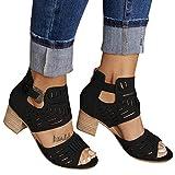 AIHOU Women's Sandals Peep Toe Chunky Heel Platform Sandals Casual Summer Flat Wedge Cut Out Buckle Sandals for Women Black
