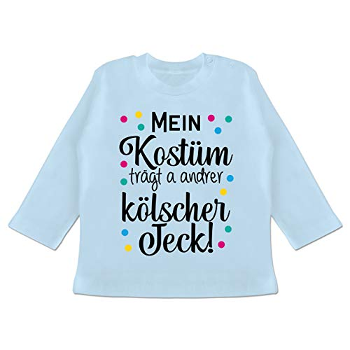 Karneval und Fasching Baby - Mein Kostüm trägt a Anderer kölscher Jeck! - schwarz - 12/18 Monate - Babyblau - Mein Kostüm trägt a andrer kölscher Jeck! - BZ11 - Baby T-Shirt Langarm