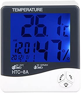 HTC-8A Digital Luminous Thermo-hygrometer Temperature Humidity Tester with LCD Backlight & Clock