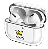 Crystal Clear Protective TPU Cover Compatible with Apple AirPods Pro Wireless Charging Case,[Front LED Visible] Shockproof,Cute Smooth TPU Hard PC Transparent Skin Accessories Fun Cases-King